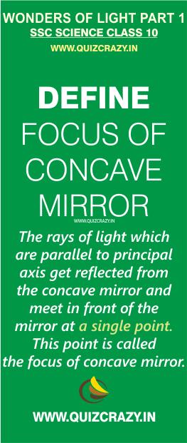 Define focus of concave mirror