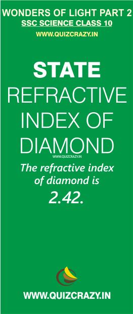 State refractive index of diamond