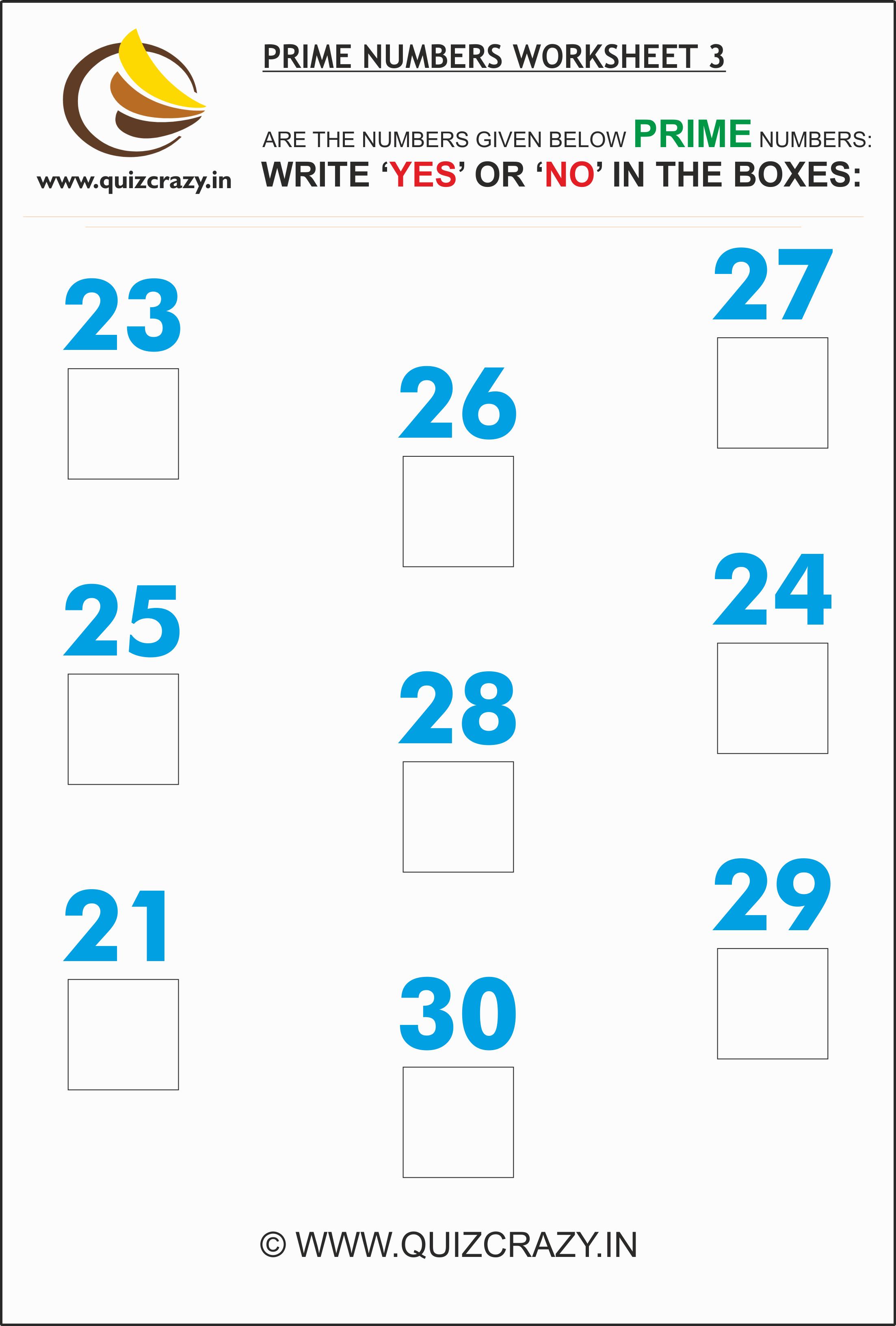 Prime Numbers Worksheet Set 3