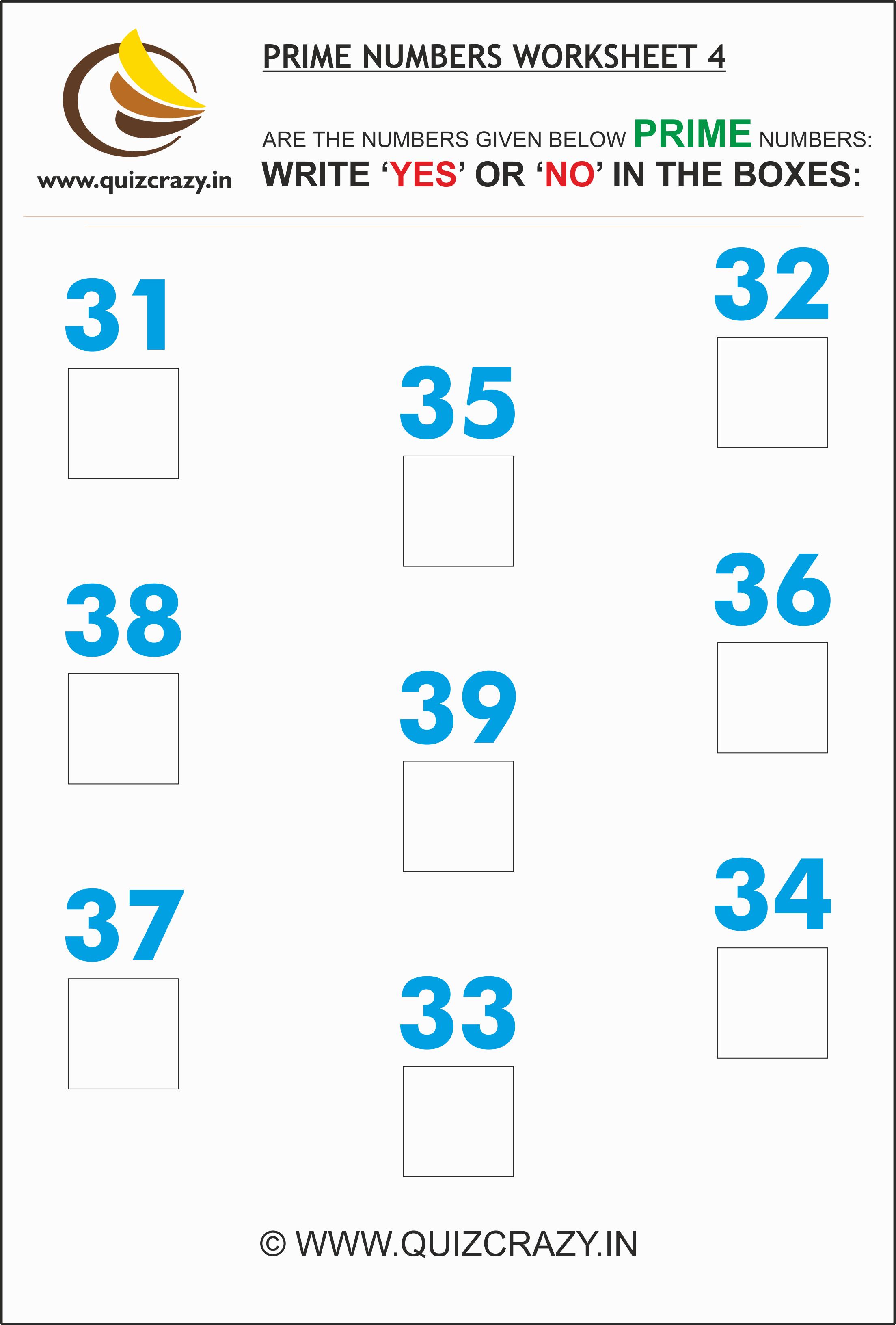 Prime Numbers Worksheet Set 4