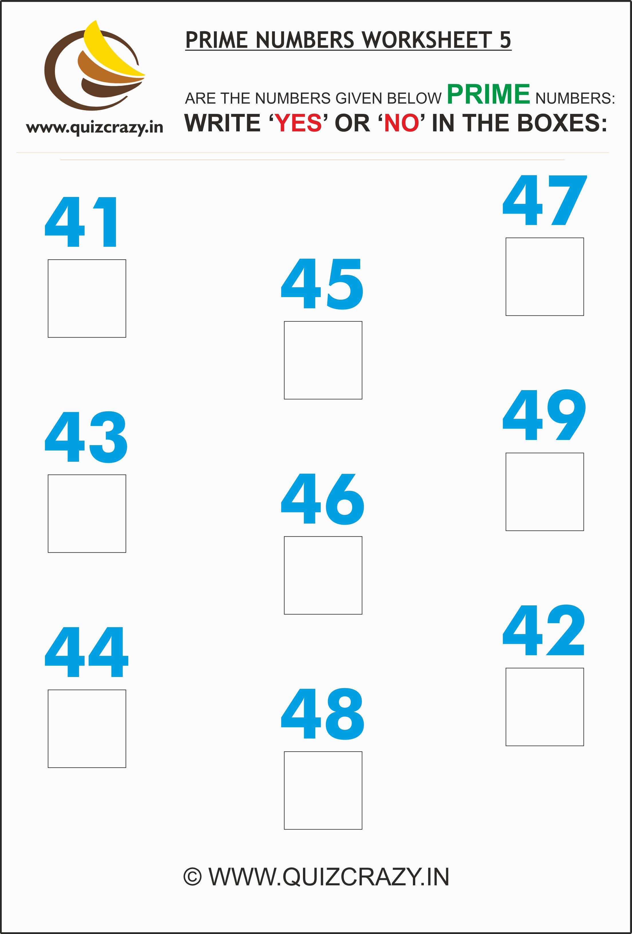 Prime Numbers Worksheet Set 5